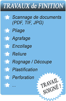 Travaux finition scannage documents pliage agrafage encollage reliure rognage plastification perforation